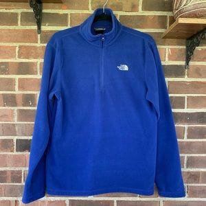 The North Face blue half zip fleece jacket